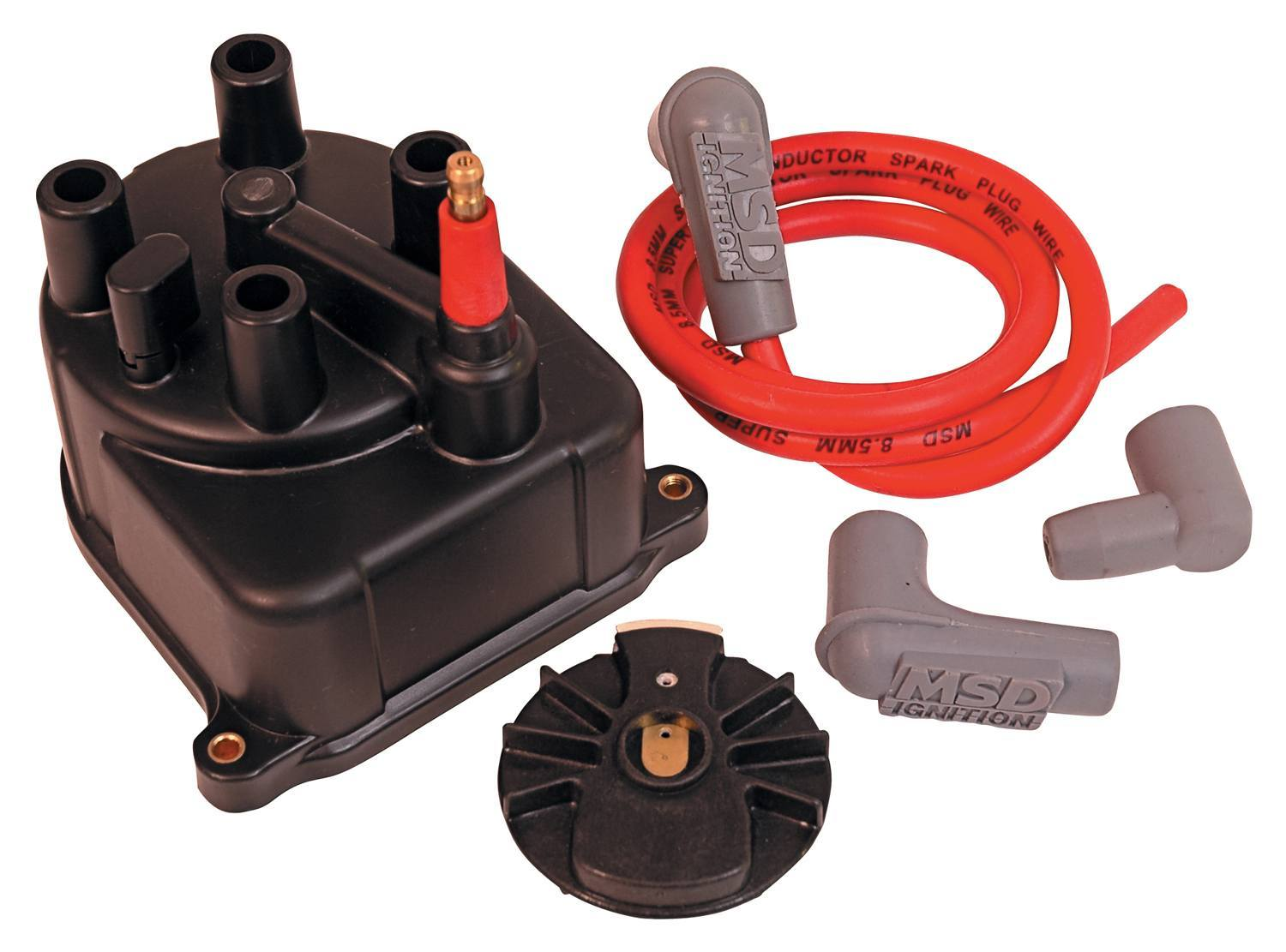 MSD Ignition 82903 Cap and Rotor Kit, Socket Style, Brass Terminals, Screw Down, Black, Vented, Coil Wire Included, Honda 4-Cylinder, Kit