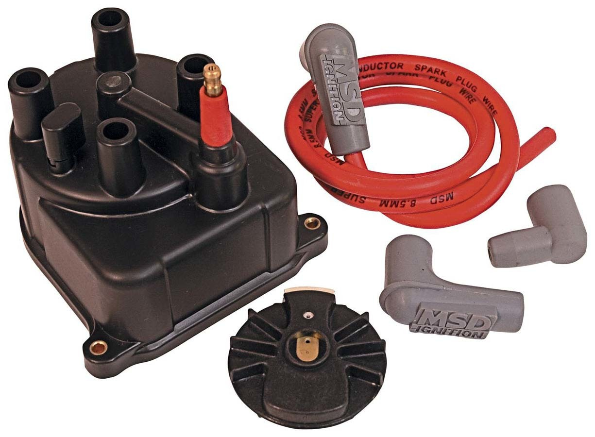 MSD Ignition 82923 Cap and Rotor Kit, Socket Style, Brass Terminals, Screw Down, Black, Vented, Coil Wire Included, Honda 4-Cylinder, Kit