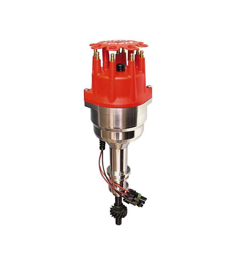 MSD Ignition 83506 Distributor, Pro-Billet, Ready-To-Run, Marine, Magnetic Pickup, Vacuum Advance, HEI Style Terminal, Red, Big Block Ford / Cleveland / Modified, Each