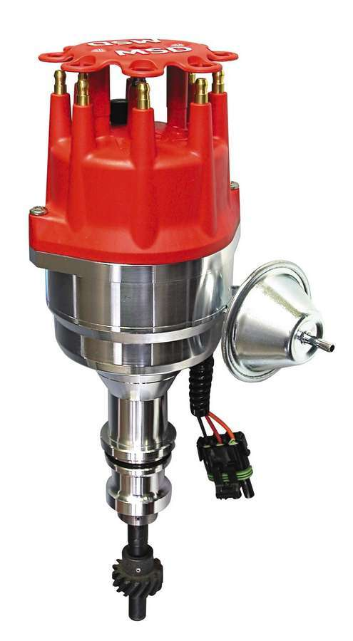 MSD Ignition 8352 Distributor, Pro-Billet, Ready-To-Run, Magnetic Pickup, Vacuum Advance, HEI Style Terminal, Red, Rev Limiter, Small Block Ford, Each