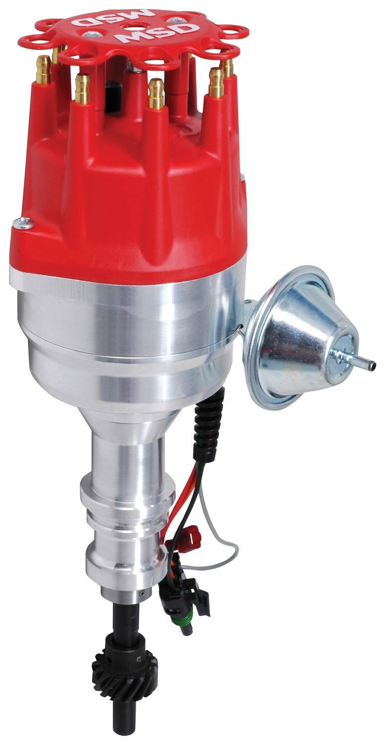 MSD Ignition 83521 Distributor, Pro-Billet, Ready-To-Run, Magnetic Pickup, Mechanical / Vacuum Advance, HEI Style Terminal, Red, Small Block Ford, Each