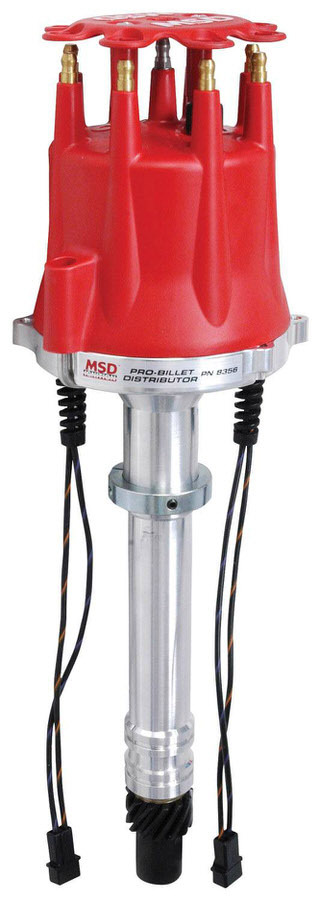 MSD Ignition 8356 Distributor, Pro-Billet, Dual Magnetic Pickup, Mechanical Advance, HEI Style Terminal, Red, Chevy V8, Each