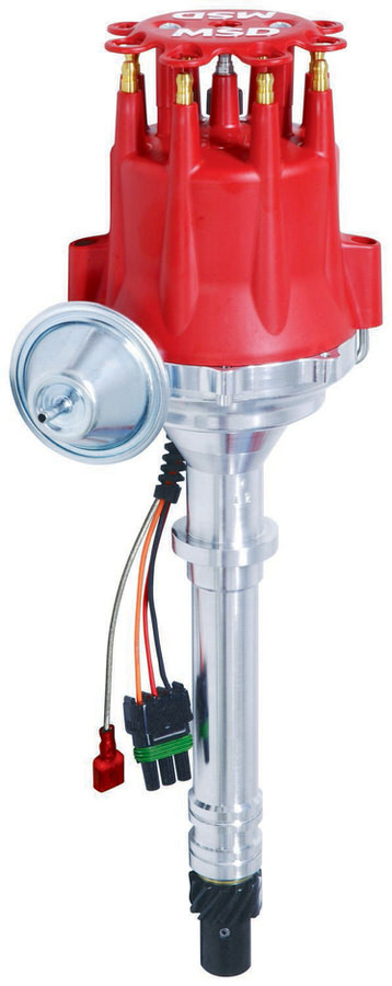 MSD Ignition 8360 Distributor, Pro-Billet, Ready-To-Run, Magnetic Pickup, Vacuum Advance, HEI Style Terminal, Red, Chevy V8, Each
