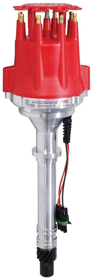 MSD Ignition 83606 Distributor, Pro-Billet, Ready-To-Run, Marine, Magnetic Pickup, Vacuum Advance, HEI Style Terminal, Red, Chevy V8, Each