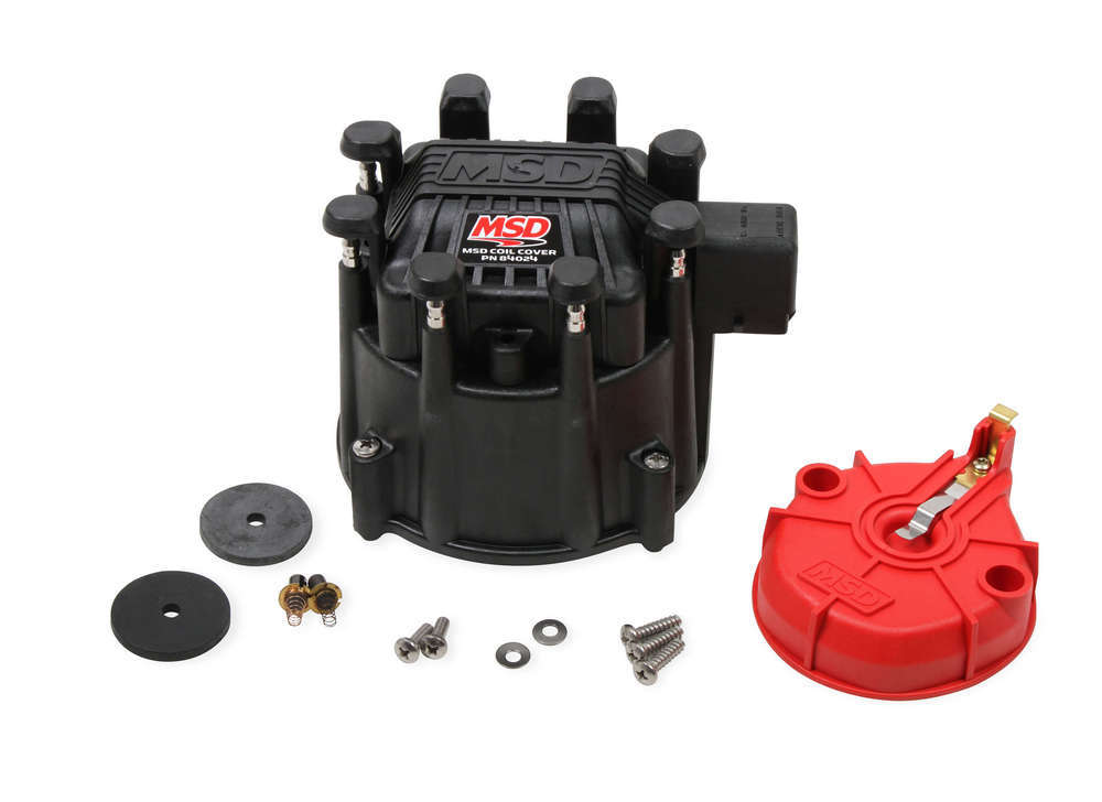 MSD Ignition 84025 Cap and Rotor Kit, HEI Style Terminal, Brass Terminals, Clamp Down, Black, Non-Vented, Coil In Cap, MSD Extreme HEI Cap, Kit