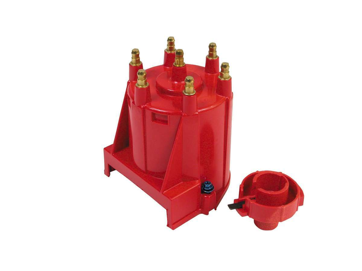 MSD Ignition 8430 Cap and Rotor Kit, HEI Style Terminal, Brass Terminals, Screw Down, Red, Non-Vented, External Coil HEI, GM V6, Kit