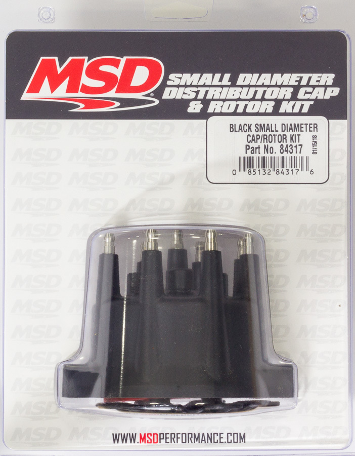 MSD Ignition 84317 Cap and Rotor Kit, HEI Style Terminal, Brass Terminals, Screw Down, Black, Non-Vented, MSD Small Diameter Distributors, V8, Each