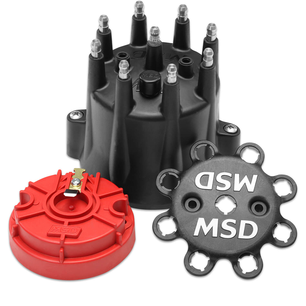 MSD Ignition 84336 Cap and Rotor Kit, HEI Style Terminal, Brass Terminals, Clamp Down, Black, Vented, Chevy V8, Each