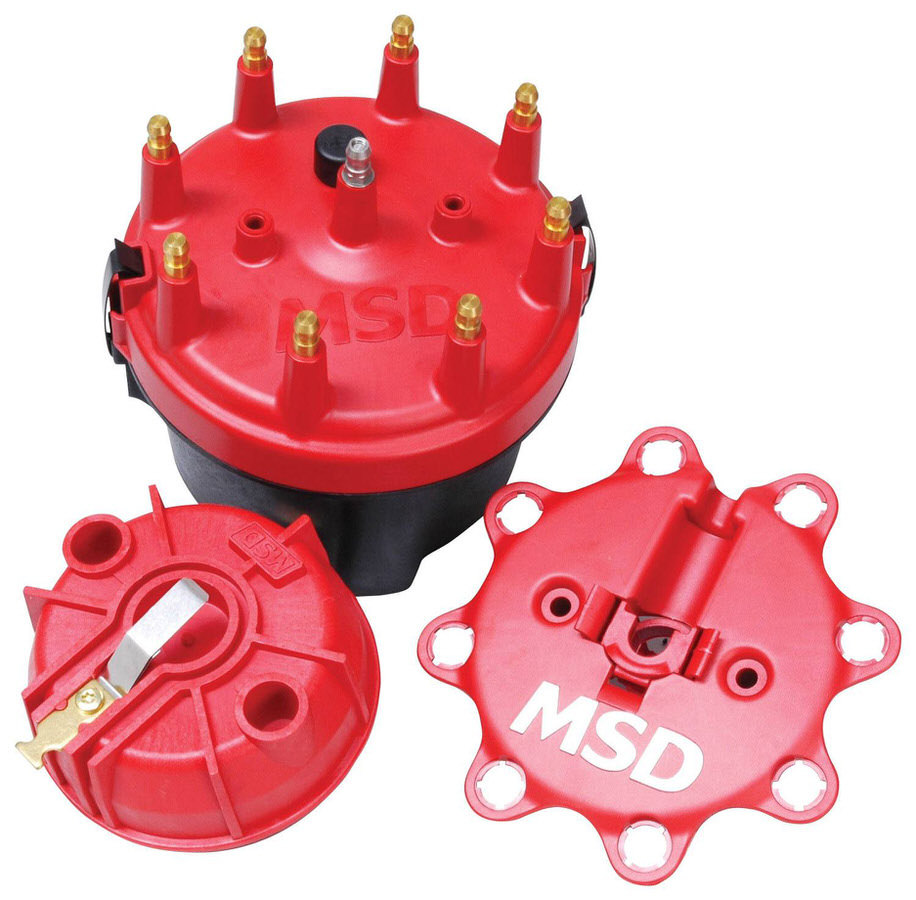 MSD Ignition 8445 Cap and Rotor Kit, Cap-A-Dapts, HEI Style Terminal, Brass Terminals, Clamp Down, Red, Vented, Fixed Rotor, MSD Distributors, V8, Kit