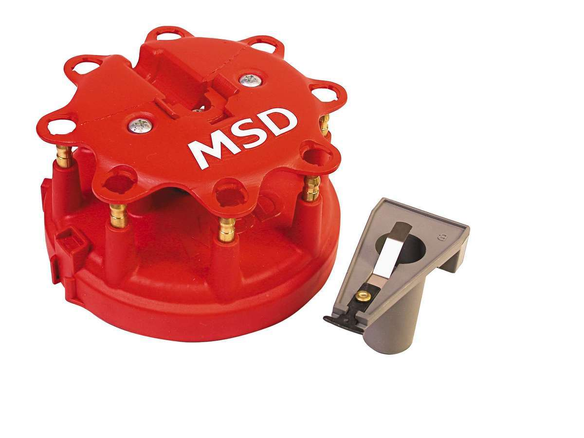 MSD Ignition 8450 Cap and Rotor Kit, HEI Style Terminal, Brass Terminals, Clamp Down, Red, Vented, Ford Duraspark V8, Kit