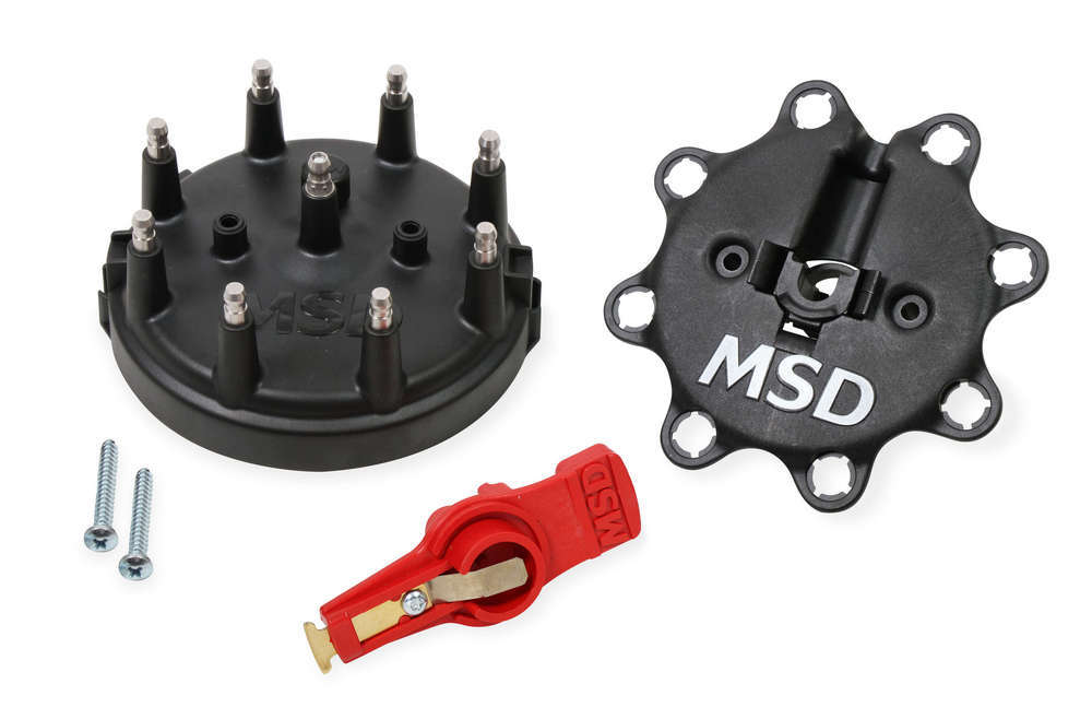 MSD Ignition 84823 Cap and Rotor Kit, HEI Style Terminal, Stainless Terminals, Clamp Down, Black, Vented, Ford TFI V8, Kit