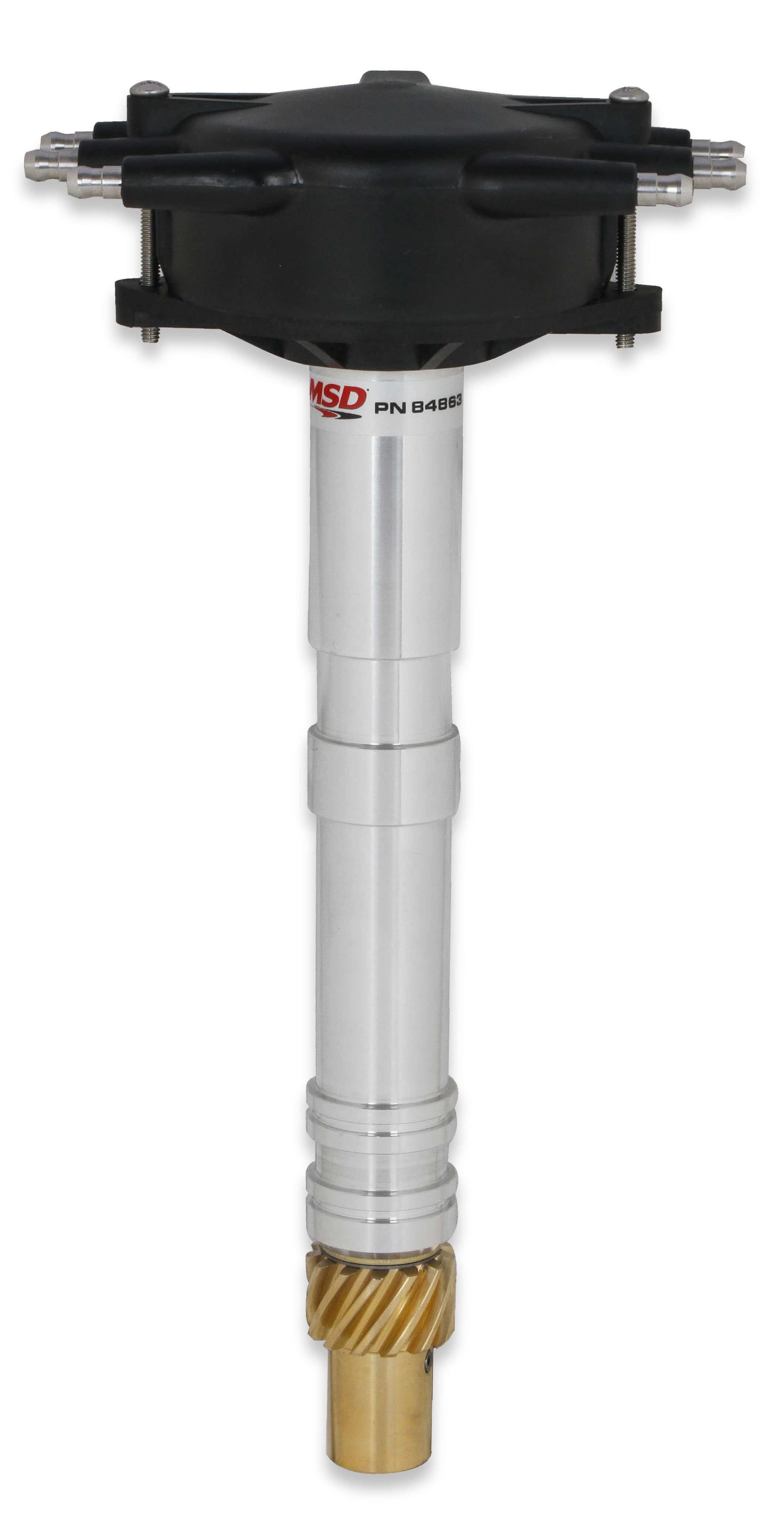 MSD Ignition 84863 Distributor, Pro-Billet, Crank Trigger Pickup, Locked Advance, HEI Style Terminal, Crab Cap, Black, GM W-Series, Each