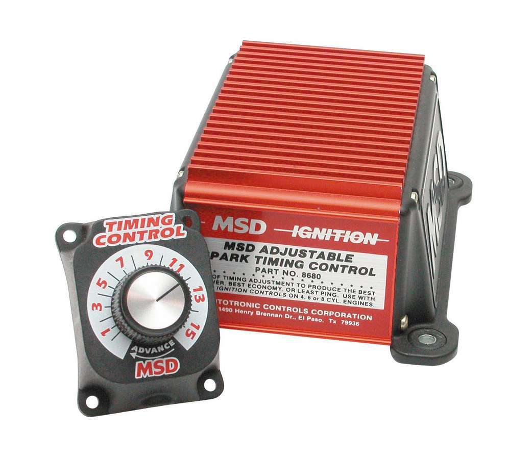 MSD Ignition 8680 Timing Controller, Adjustable Timing Advance Controller, Dash Mounted Knob, Adjust up to 15 Degrees, MSD Ignitions, Each