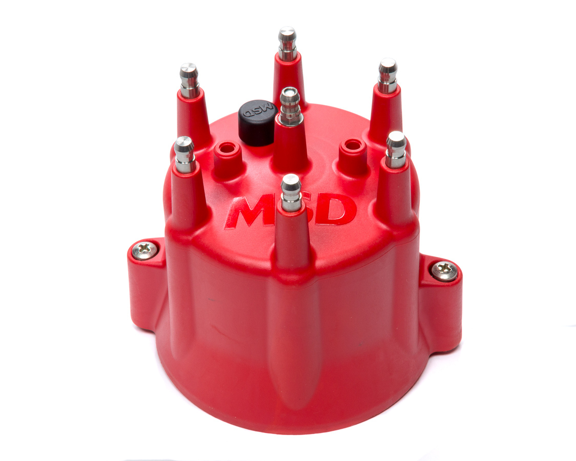 MSD Ignition ASY28094 Distributor Cap, HEI Style Terminals, Stainless Terminals, Twist Lock, Red, Vented, Chevy V6 / MSD Pro Billet, Each