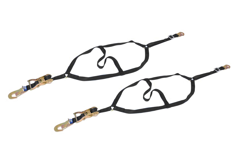 Macs Custom Tie Downs 111501 Wheel Net, 1 in Webbing, Flat Snap Hooks, Nylon / Steel, Black / Zinc Oxide, Dragster Front Wheels, Pair