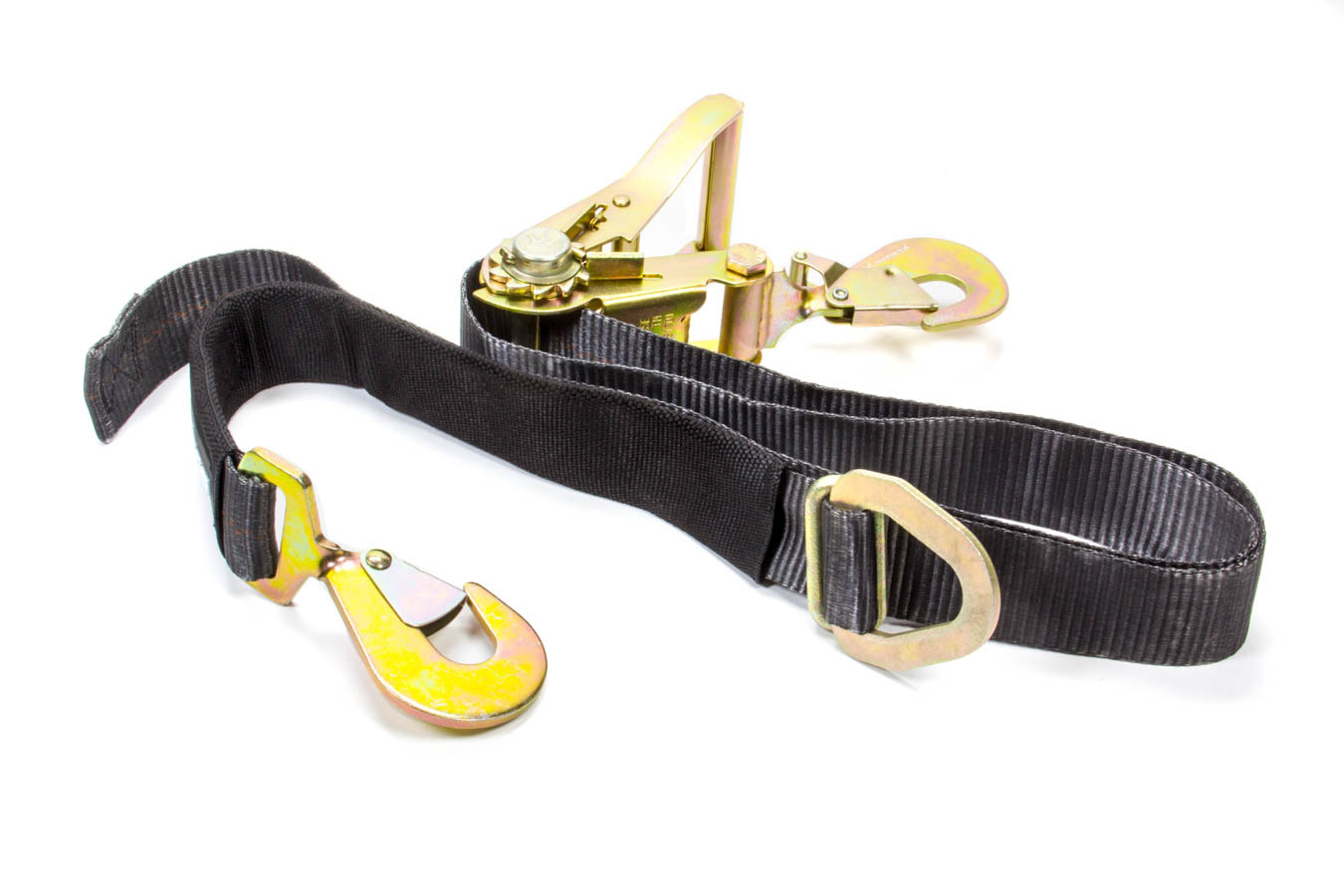 Macs Custom Tie Downs 121409 Ratchet Tie Down, 2 in Wide, 8 ft Long, 10000 lb Capacity, Twisted Snap Hook, Built-in Axle Strap, Polyester, Black, Each