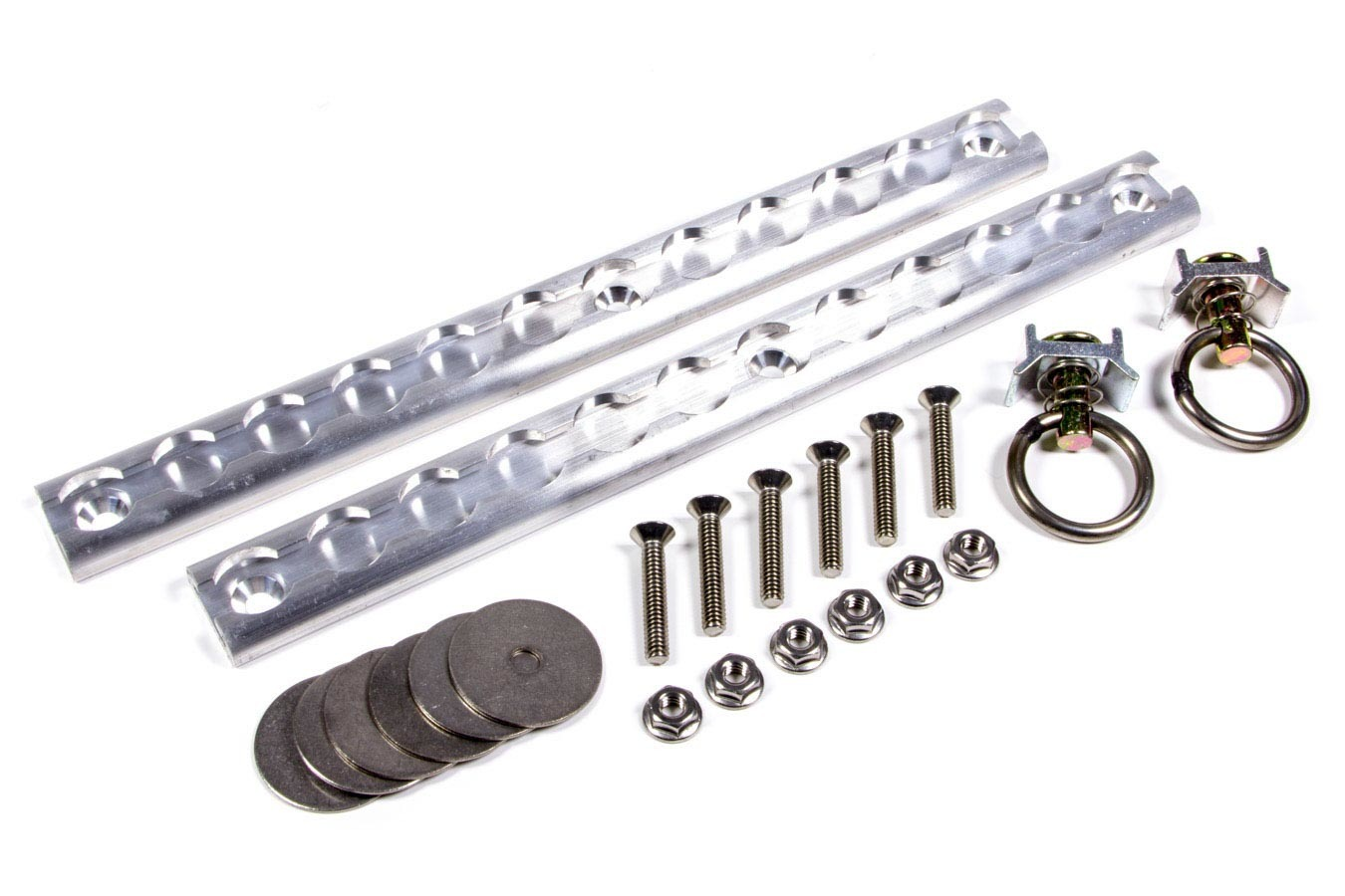 Macs Custom Tie Downs 522124 Tie Down Track Kit, VersaTie, Two 2 ft Long Tracks, Two Ring Tie Downs, Hardware Included, Aluminum / Steel, Natural / Cadmium, Kit