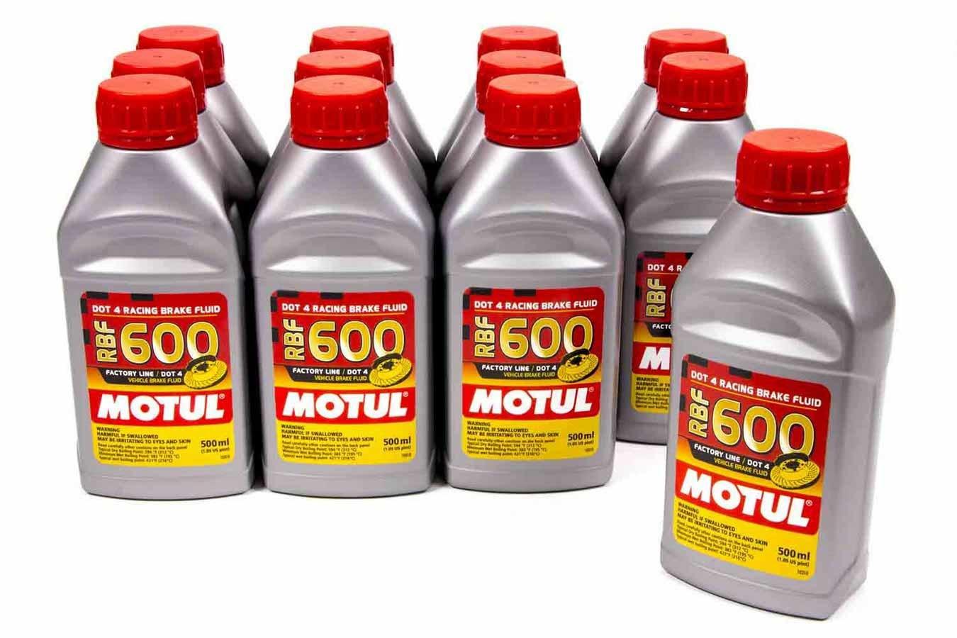 Motul 100949-12 Brake Fluid, RBF 600 Factory Line, DOT 4, Synthetic, 500 ml, Set of 12