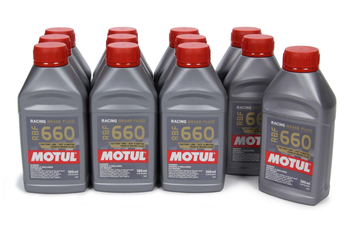 Motul 101667-12 Brake Fluid, RBF 660 Factory Line, DOT 4, Synthetic, 500 ml, Set of 12