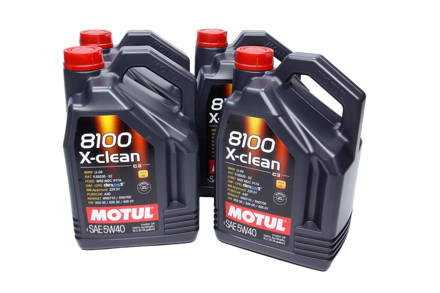 Motul 102051-4 Motor Oil, 8100 X-Clean, 5W40, Synthetic, 5 L Jug, Set of 4