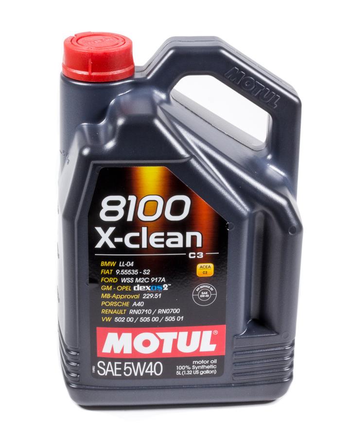 Motul 102051 Motor Oil, 8100 X-Clean, 5W40, Synthetic, 5 L Jug, Each