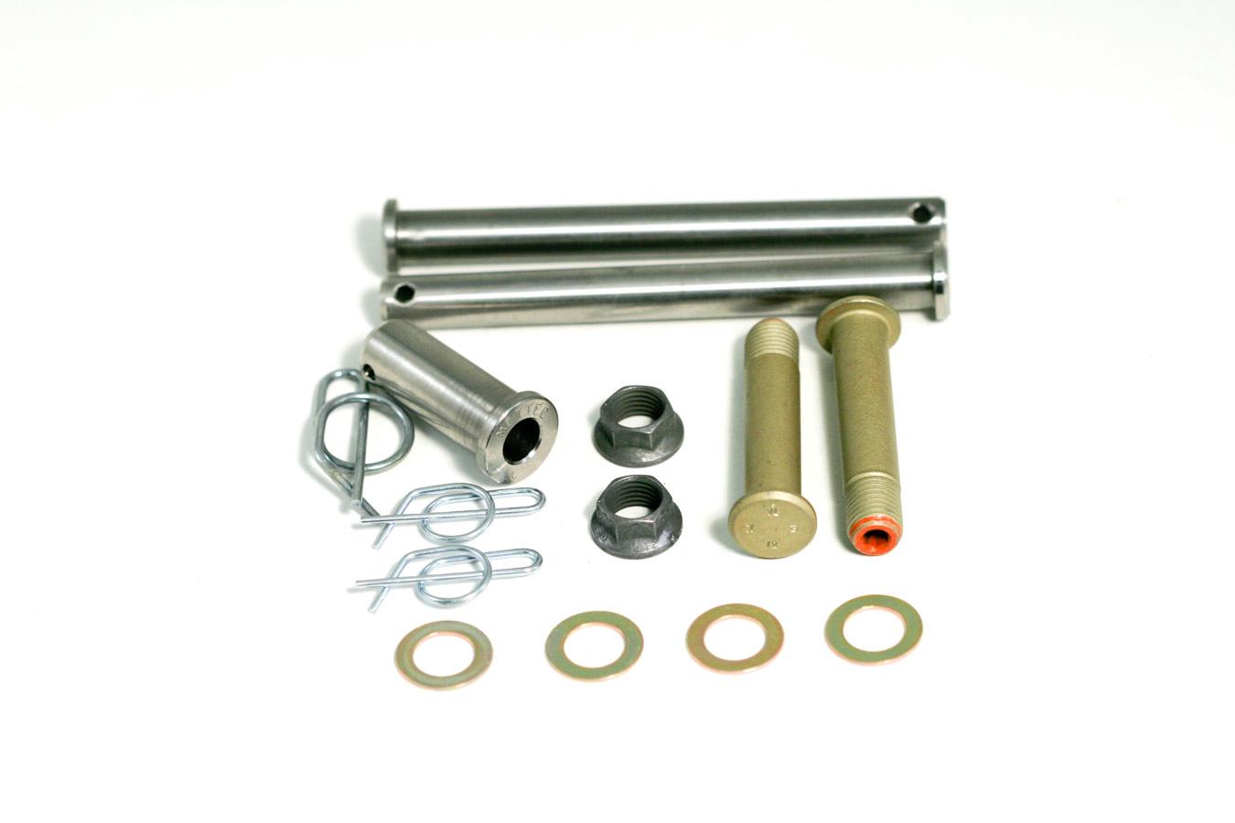 Mettec KT520 Jacobs Ladder Pin, 3/8 in Diameter, 3-3/4 in Long, Clips/Springs, Titanium, Natural, Sprint Car, Kit