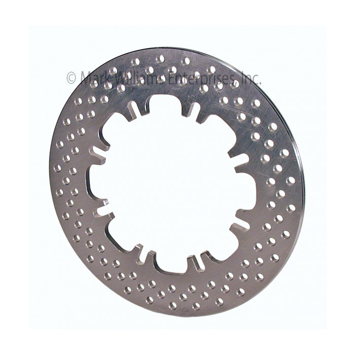 MWE71010 Brake Rotor, Diver / Passenger Side, Drilled, 11.75 in OD, 0.375 in Thick, Wheel Hat Required, Steel, Natural, Each