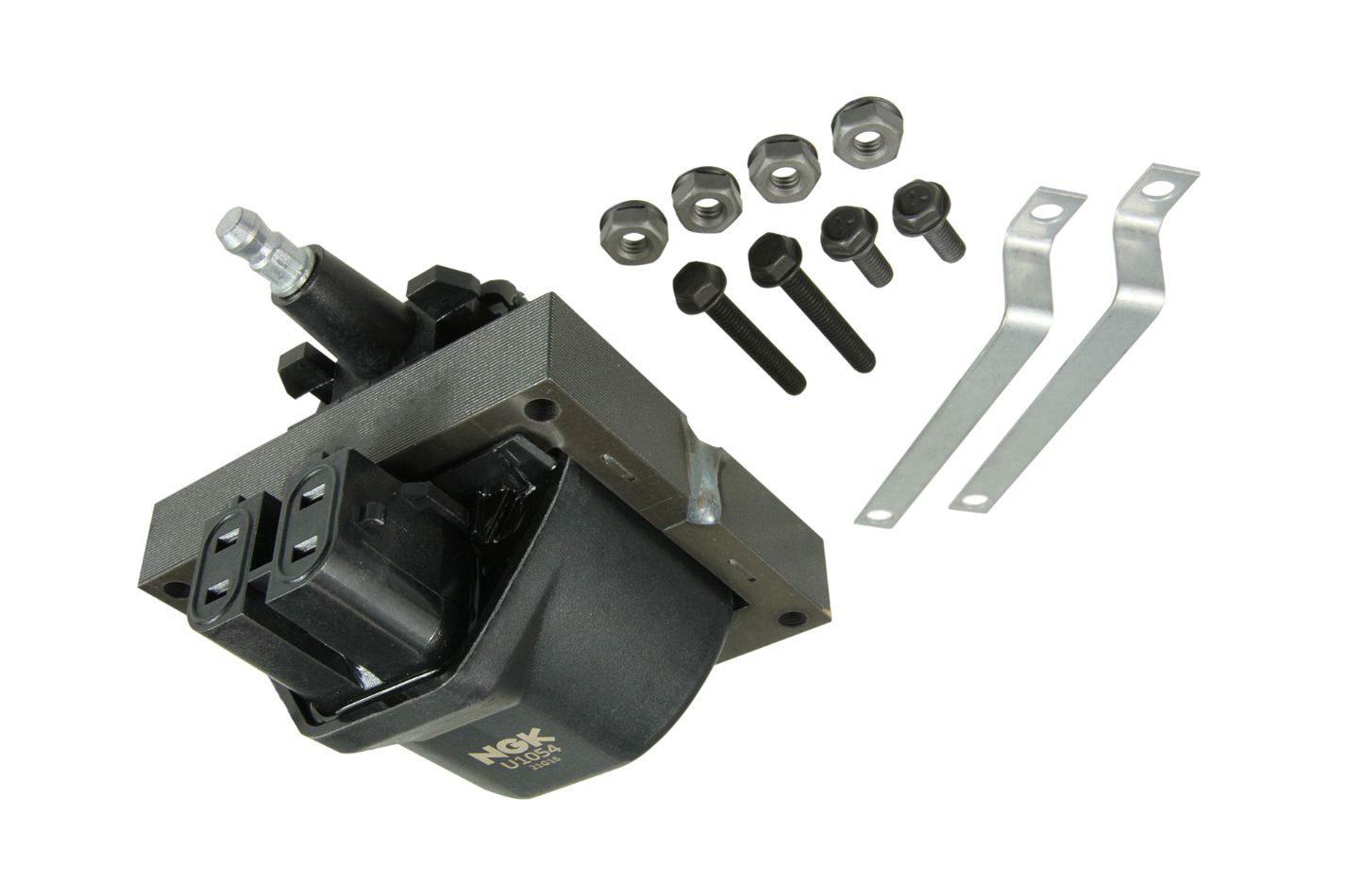NGK U1054 Ignition Coil, Male HEI Style, OE Specs, 4 Blade Terminal, Electronic Ignition, Black, Each