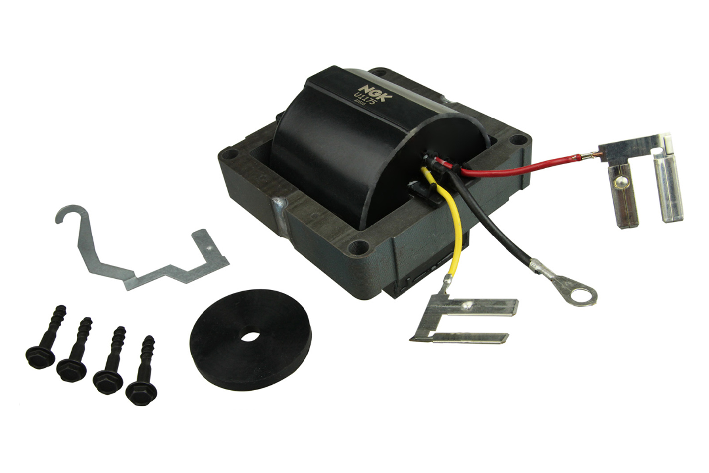 NGK U1175 Ignition Coil, Male HEI Style, OE Specs, 3 Pressure Contact Terminals, Electronic Ignition, Black, Each