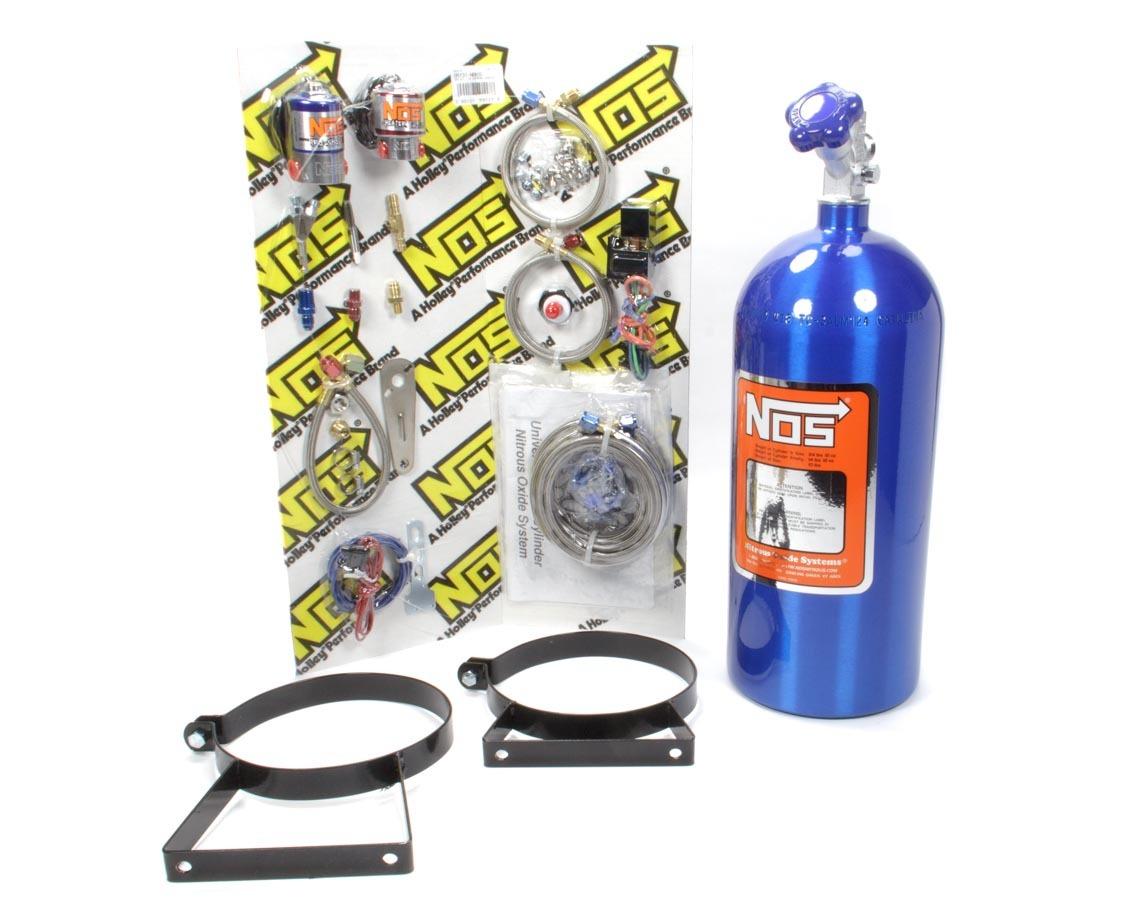 Nitrous Oxide Systems 05131 Nitrous Oxide System, Wet, Single Stage, 75-125 HP, 10 lb Bottle, Blue, Universal 8 Cylinder, Kit