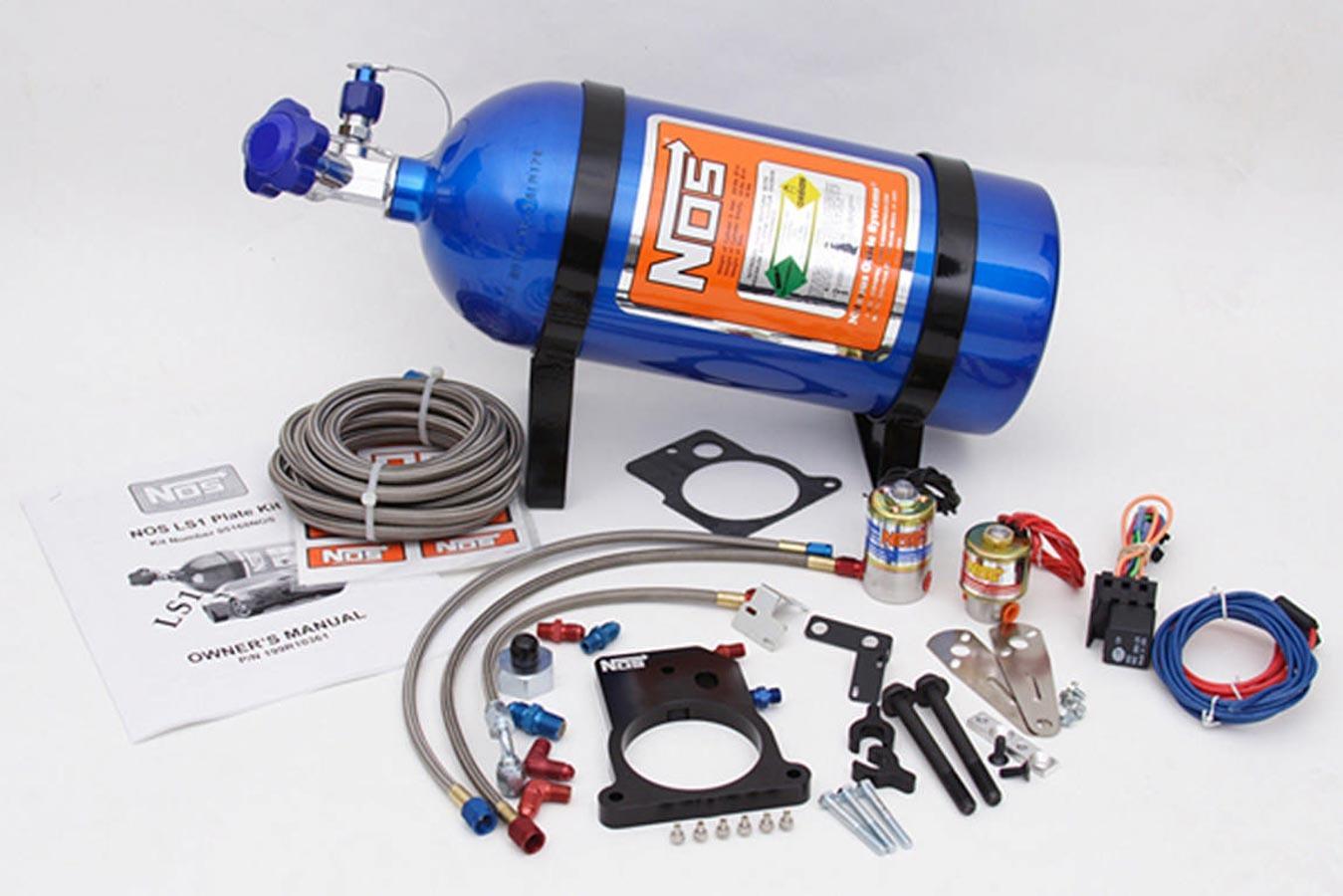 Nitrous Oxide Systems 05168 Nitrous Oxide System, GM LS1 EFI, Wet, Single Stage, 100-200 HP, 10 lb Bottle, Blue, GM LS-Series, LS1 3-Bolt Throttle Body, Kit