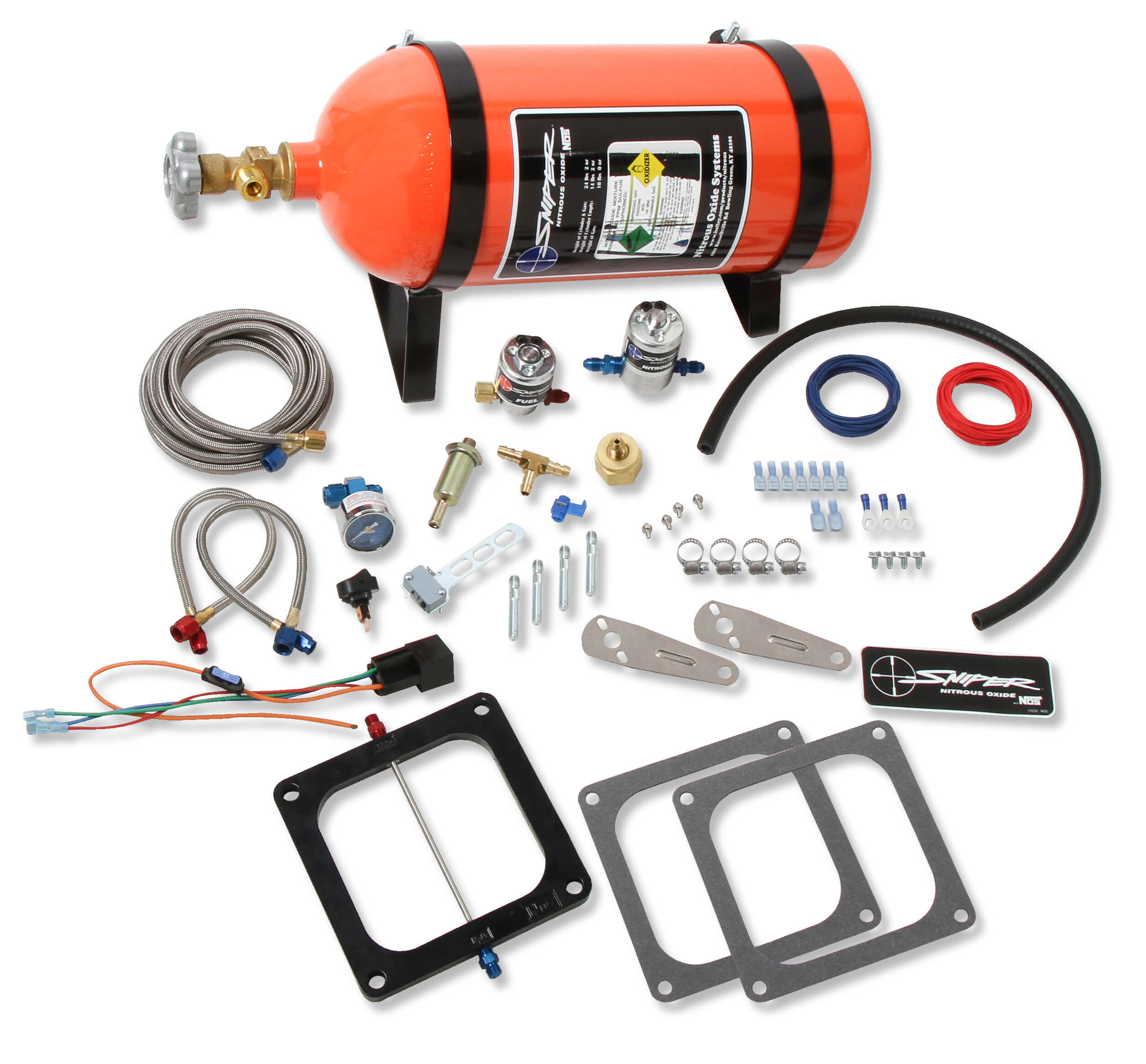 Bottle Nitrous Express 90006-10 200-600 HP 8-Cylinder Gasoline Shark Direct Port System with 4 Solenoids and 10 lbs