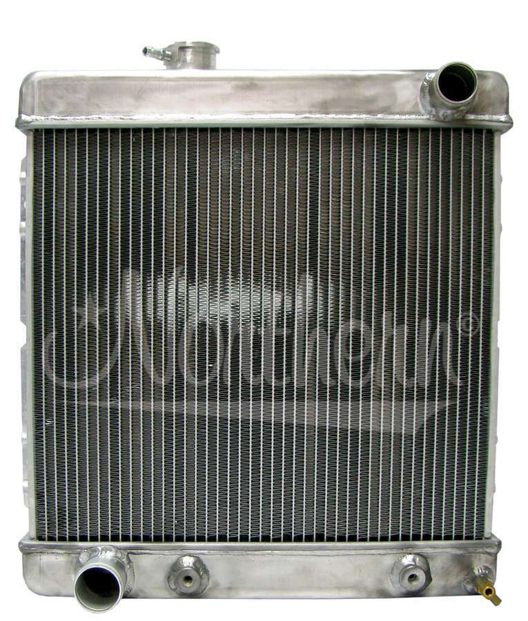 Northern Radiator 205064 Radiator, 20-1/4 in W x 18-1/2 in H x 3-1/8 in D, Passenger Side Inlet, Driver Side Outlet, Aluminum, Natural, Automatic, Ford 1960-70, Each