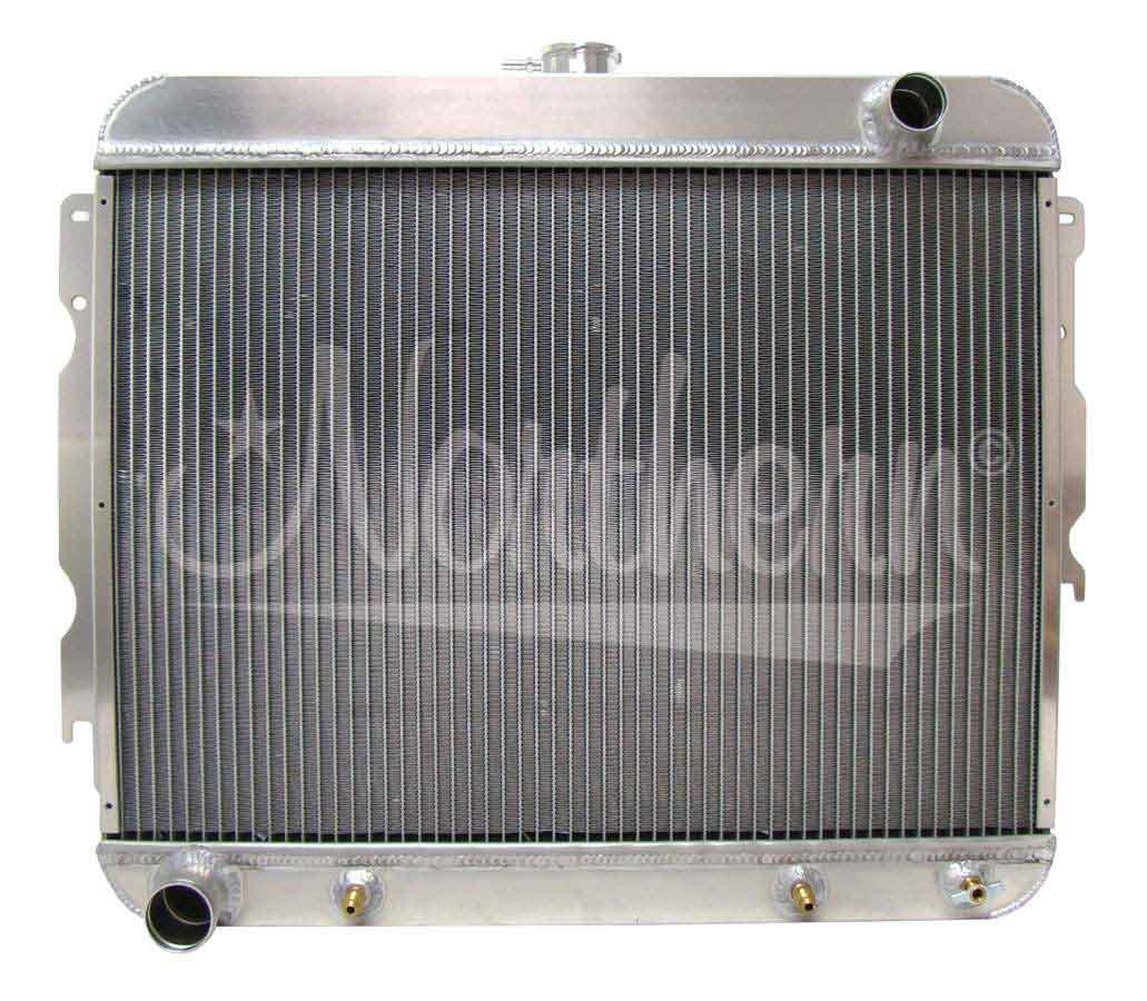 Northern Radiator 205191 Radiator, Muscle Car Downflow, 25-3/8 in W x 22-1/2 in H x 3-1/8 in D, Passenger Side Inlet, Drivers Side Outlet, Trans Cooler, Aluminum, Natural, Mopar B-Body / E-Body 1966-74, Each