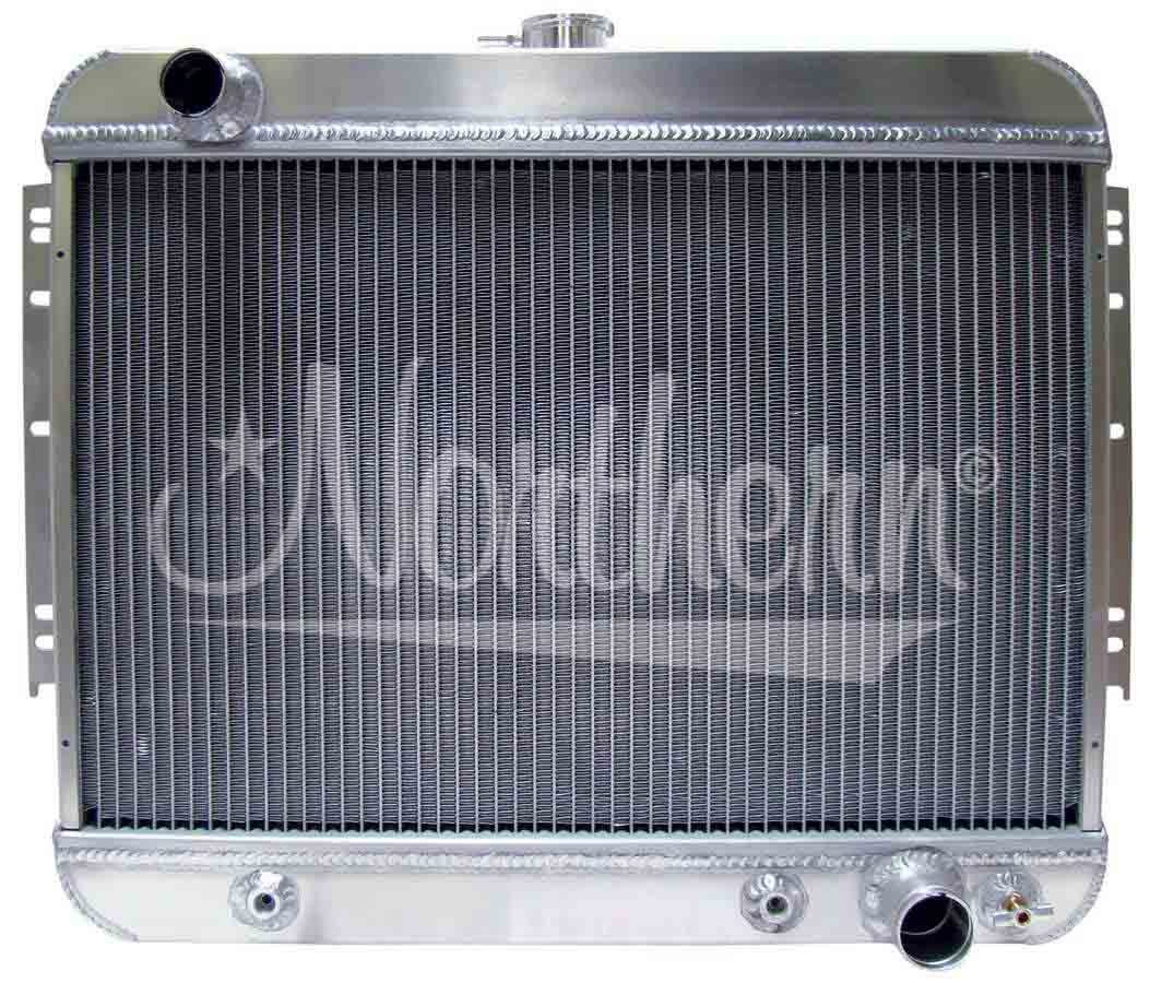 Northern Radiator 205195 Radiator, Muscle Car Downflow, 24 in W x 20-1/4 in H x 3-1/4 in D, Driver Side Inlet, Passenger Side Outlet, Trans Cooler, Aluminum, Natural, GM A-Body 1964-67, Each