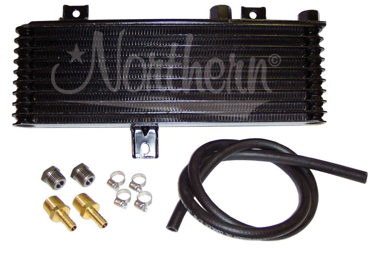Northern Radiator Z18028 Fluid Cooler, 14 x 5 x 1-1/2 in, 1/2 in NPT Inlet / Outlet, Plate and Fin, Hardware Included, Aluminum, Black, Fullsize Trucks, Kit