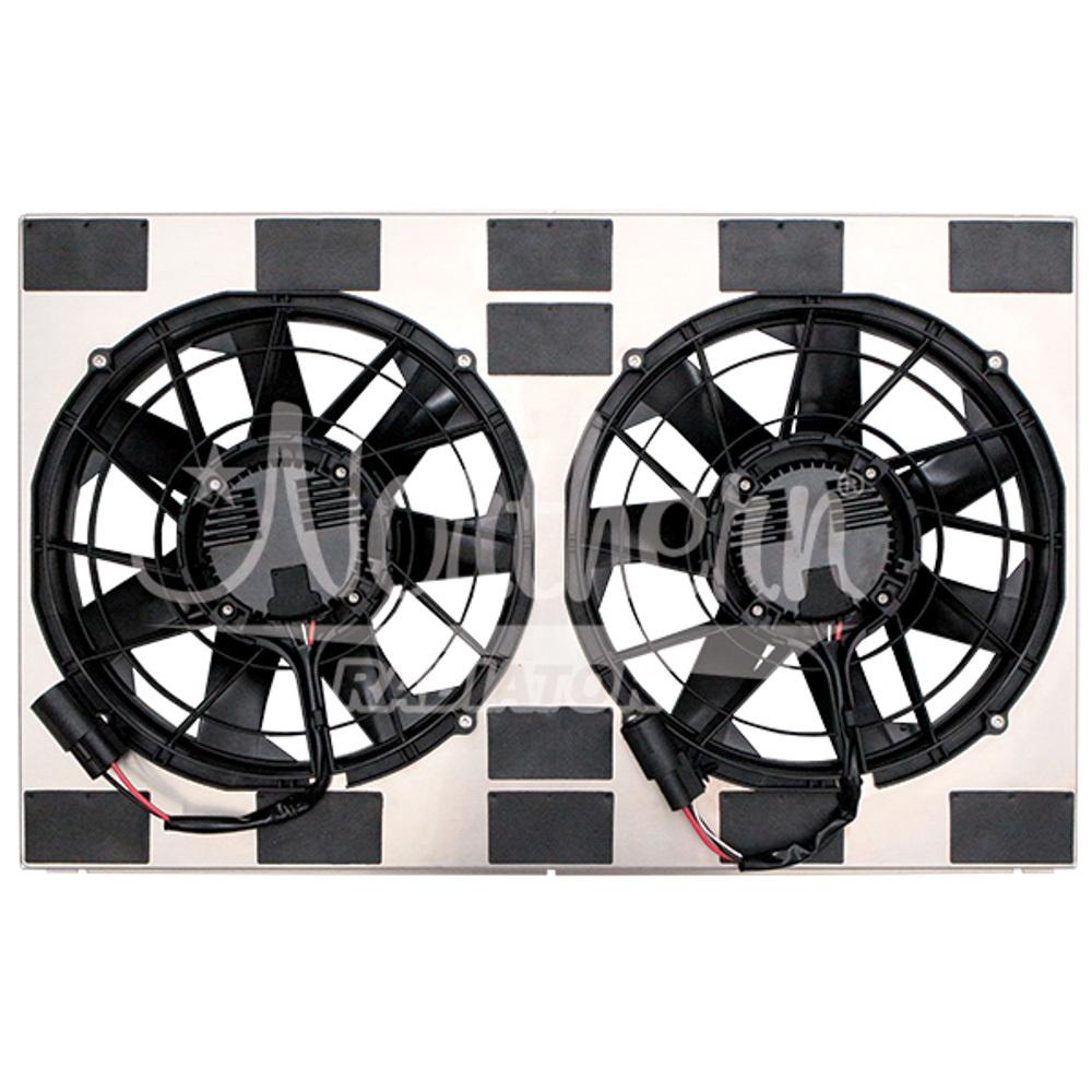 Northern Radiator Z40132 Electric Cooling Fan, Dual, 12 in Fans, 17-1/4 x 28 x 3-1/2 in Shroud, Brushless, Temp Sensor, Kit