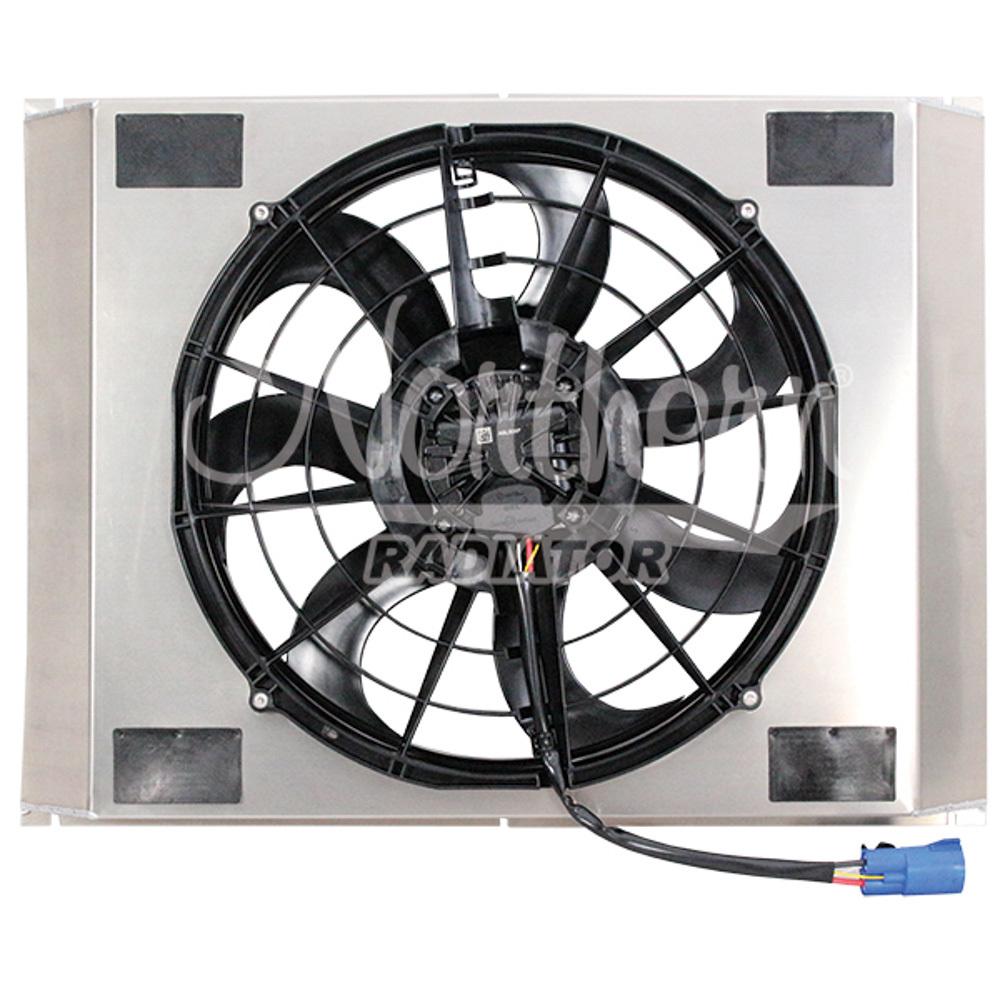 Northern Radiator Z40135 Electric Cooling Fan, 16 in Fan, 18-1/8 x 22-3/8 x 3-1/2 in Shroud, Brushless, Temp Sensor, Kit