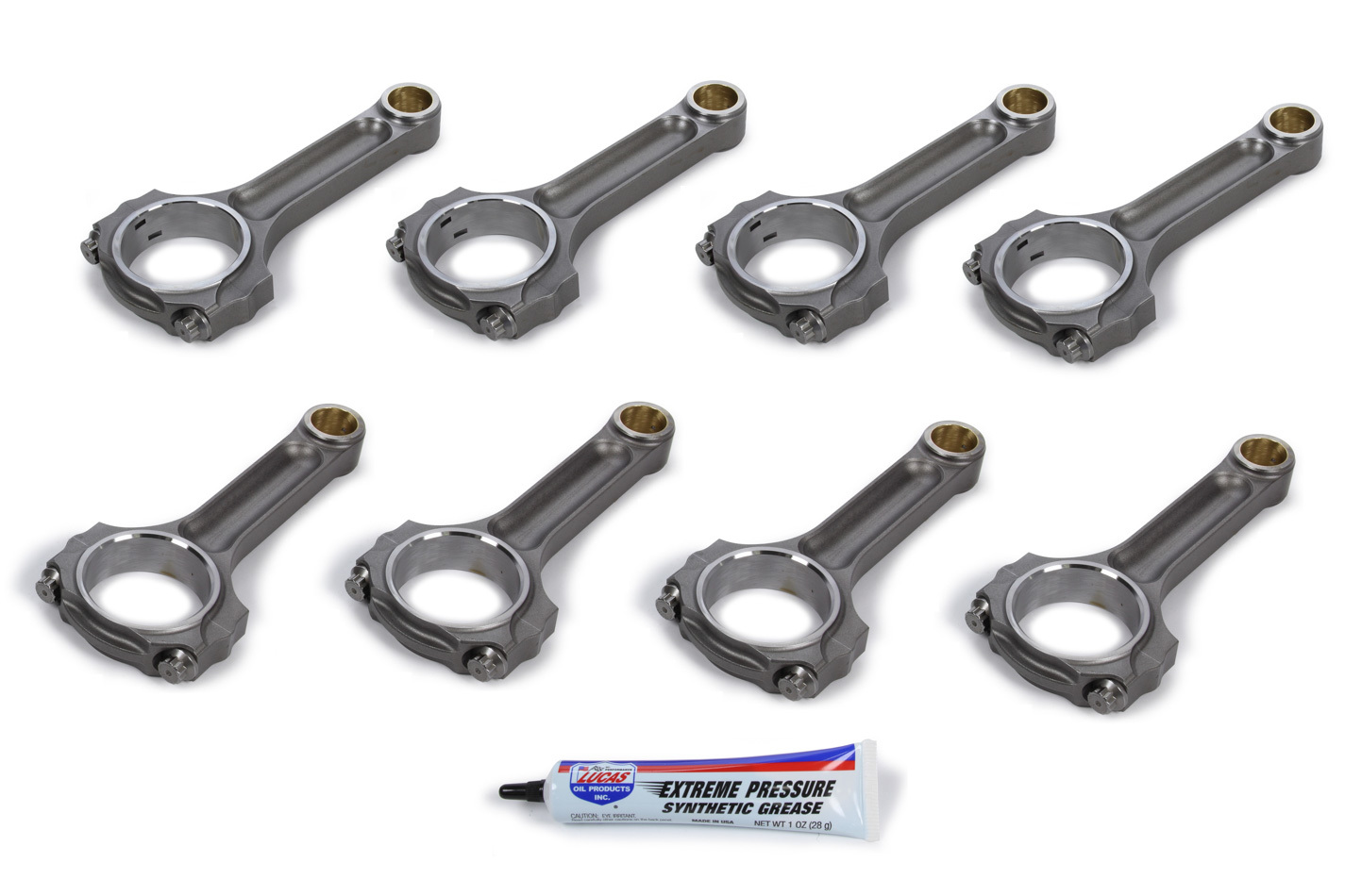 Oliver Rods L6125STSW8 Connecting Rod, Speedway, I Beam, 6.125 in Long, Bushed, 7/16 in Cap Screws, Forged Steel, GM LS-Series, Set of 8