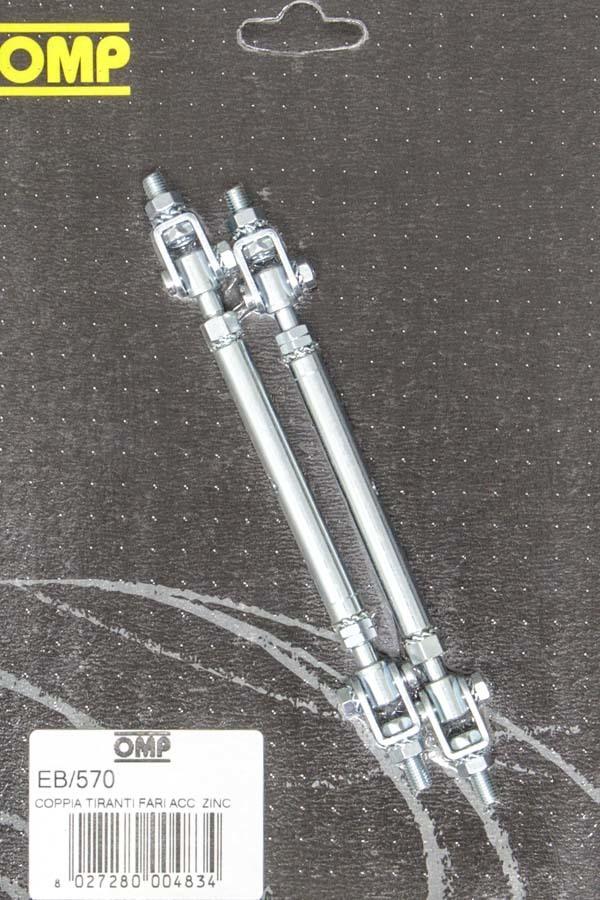 OMP Racing EB570 Body / Spoiler Brace, Telescoping, 5.12 to 7.68 in Long, Steel, Zinc, Pair