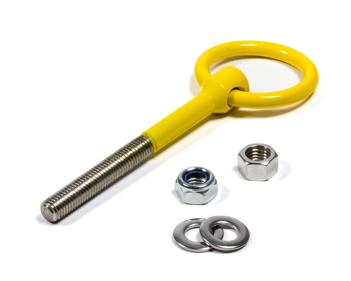 OMP Racing EB571 Tow Hook, Screw-In, 12 mm x 1.75 Thread, Steel, Yellow, Each