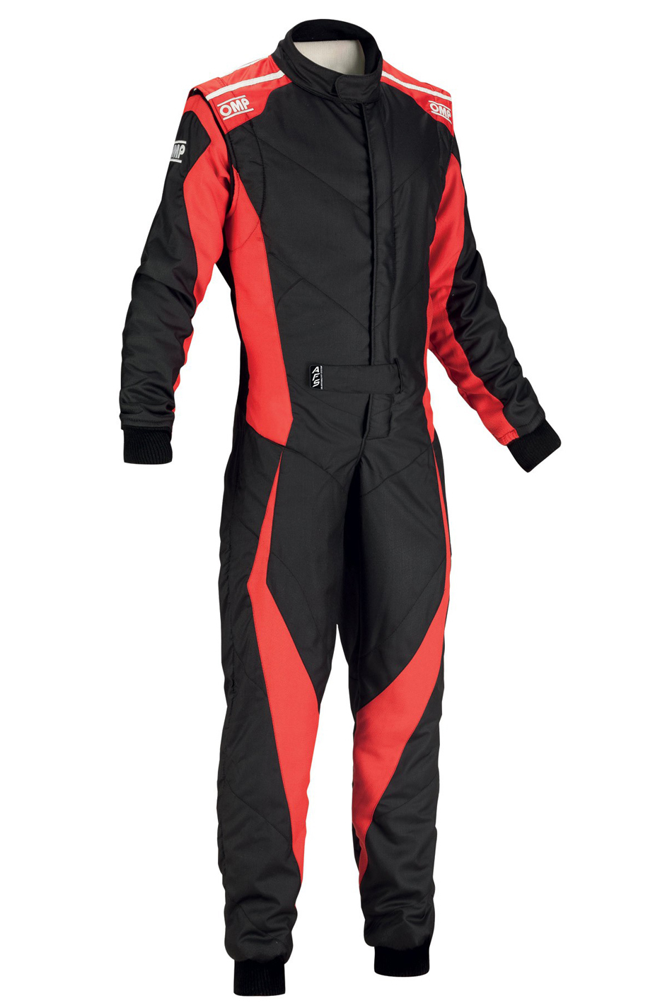 OMP Racing IA0185907356 Suit, Tecnica Evo, Driving, 1 Piece, SFI 3.2A/5, FIA Approved, Double Layer, Fire Retardant Fabric, Black / Red, Size 56, Large, Each