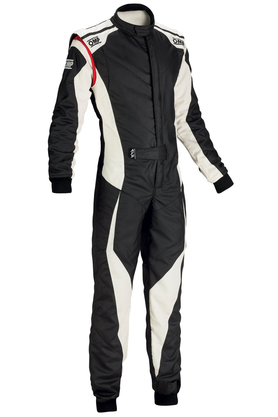 OMP Racing IA0185907654 Suit, Tecnica Evo, Driving, 1 Piece, SFI 3.2A/5, FIA Approved, Double Layer, Fire Retardant Fabric, Black / White, Size 54, Medium / Large, Each