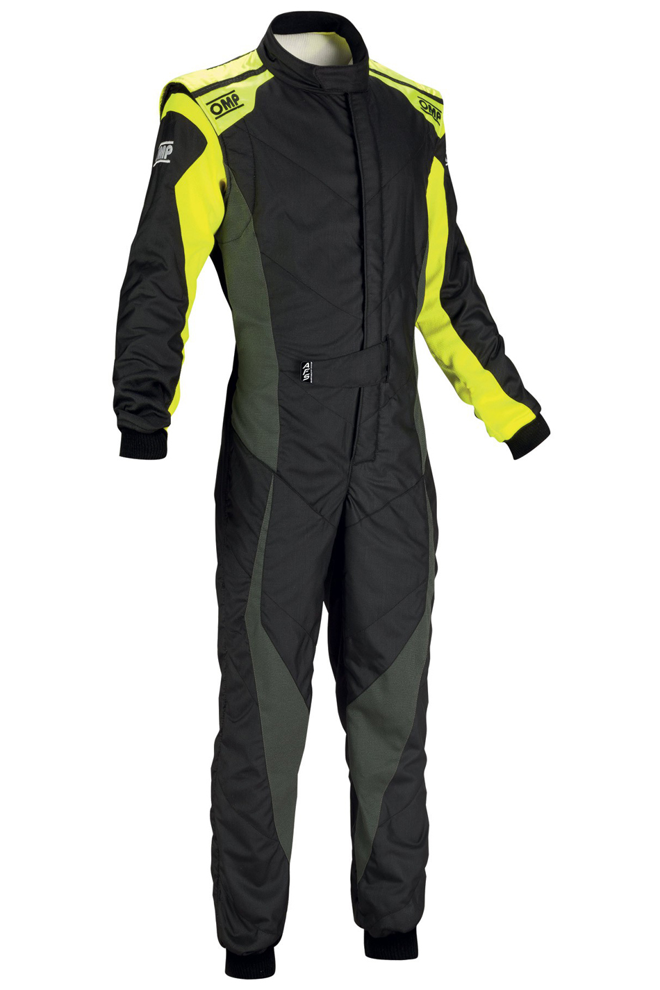 OMP Racing IA0185917854 Suit, Tecnica Evo, Driving, 1 Piece, SFI 3.2A/5, FIA Approved, Double Layer, Fire Retardant Fabric, Black/Yellow, Size 54, Medium/Large, Each