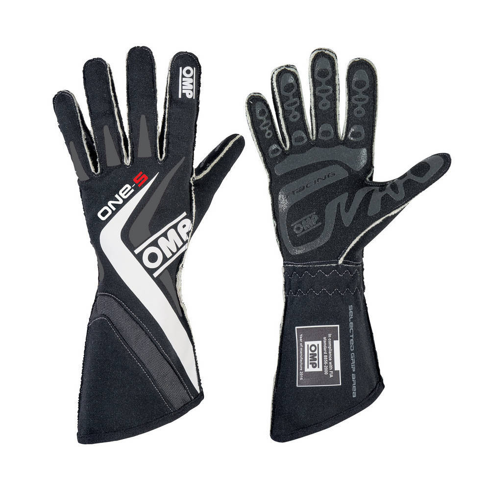 OMP Racing IB755ENWXS Gloves, One S, Driving, FIA Approved, Single Layer, Fire Retardant Fabric, Gray / White, X-Small, Pair