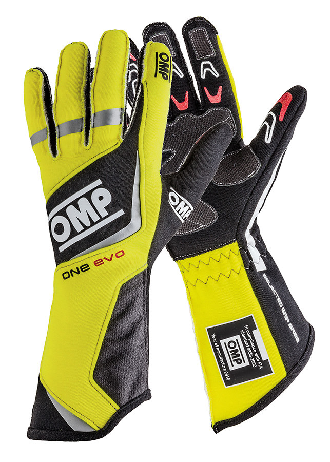 OMP Racing IB759GFXS Gloves, One EVO 2015, Driving, FIA Approved, Single Layer, Fire Retardant Fabric, Black / Fluorescent Yellow, X-Small, Pair