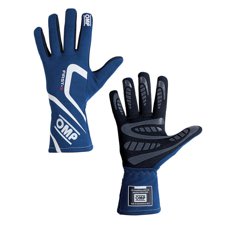 OMP Racing IB761EBM Gloves, First-S, Driving, FIA Approved, Double Layer, Fire Retardant Fabric, Blue, Medium, Pair