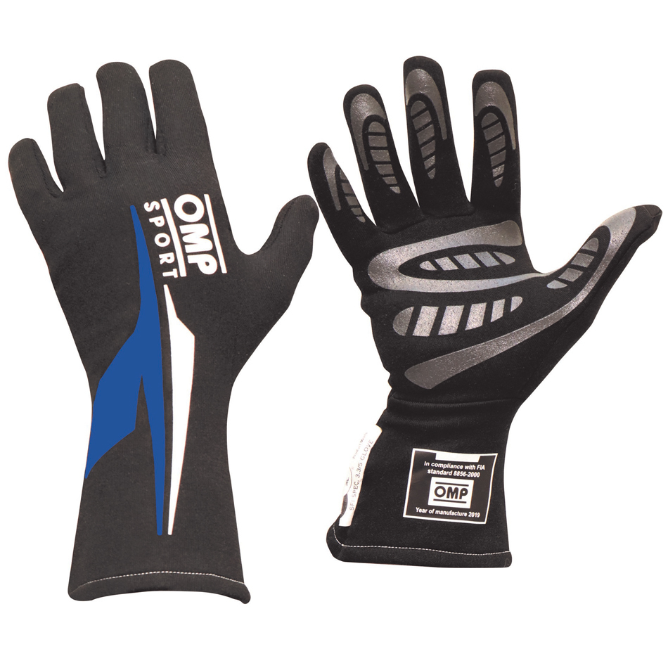 OMP Racing IB762ENBL Gloves, OS 60, Driving, SFI 3.3/5, FIA Approved, Double Layer, Nomex, Black / Blue, Large, Pair