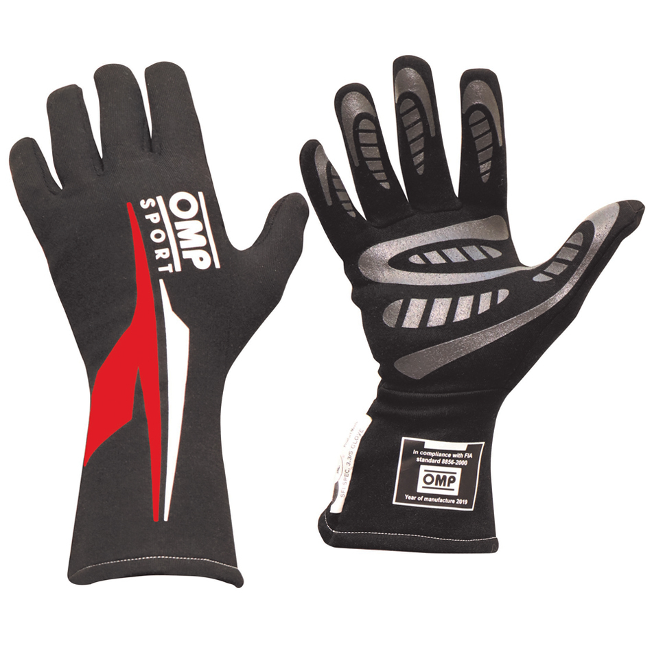 OMP Racing IB762ENRXL Gloves, OS 60, Driving, SFI 3.3/5, FIA Approved, Double Layer, Nomex, Black / Red, X-Large, Pair