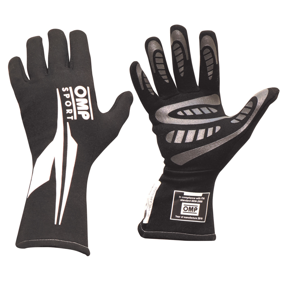 OMP Racing IB762ENWS Gloves, OS 60, Driving, SFI 3.3/5, FIA Approved, Double Layer, Nomex, Black / White, Small, Pair